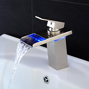 cheap Bathroom Sink Faucets-Bathroom Sink Faucet - Waterfall / LED Nickel Brushed Centerset Single Handle One HoleBath Taps / Brass