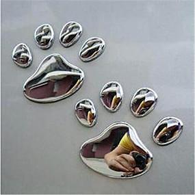 billige Tilbehør til eksteriør-par kule design pote bil klistremerke 3d dyr hund katt bjørn fotavtrykk fotavtrykk 3m klistremerke bil klistremerker sølv