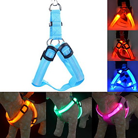 preiswerte Hundehalsbänder & Leinen-Katze Hund Geschirre Leinen Training LED-Lampen Regolabile / Einziehbar Solide Nylon Blau Rosa Dunkelrot