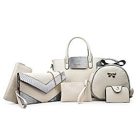 preiswerte 2019 Flats-Damen Gestuft PU Bag Set Beutel Sets Krokodilmuster 6 Stück Geldbörse Set Schwarz / Weiß / Purpur