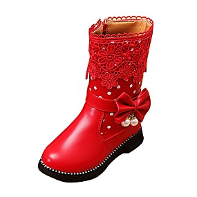 cheap Kids' Shoes Promotion-Girls' Comfort / Snow Boots Leatherette Boots Little Kids(4-7ys) / Big Kids(7years +) Walking Shoes Zipper Black / Red / Pink Winter / TR / EU36