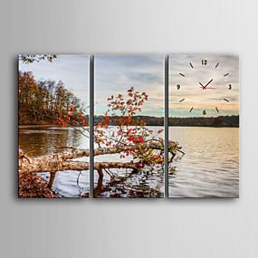 preiswerte Wanduhren auf Leinwand-e-home® Szenerie am See Uhr in Leinwand 3tlg