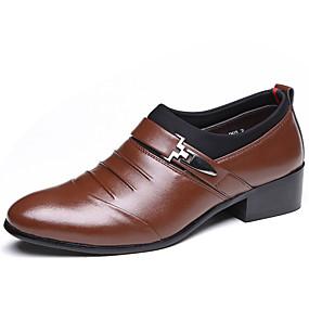 levne Větší obuv-Pánské Společenské boty Umělá kůže Jaro / Podzim Pohodlné Oxfordské Voděodolný Černá / Hnědá / Party