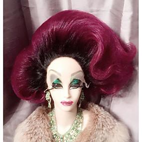 preiswerte OUO®-Synthetische Perücken Natürlich gewellt Natürlich gewellt Stufenhaarschnitt Spitzenfront Perücke Mittlerer Länge 45cm Lila Synthetische Haare Damen 100% kanekalon haare Lila