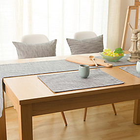 cheap Table Linens-Rectangular Solid Table Runner , Linen Material Hotel Dining Table Table Decoration