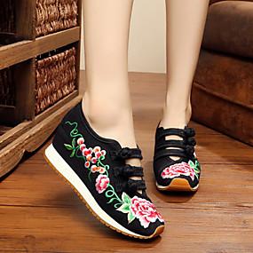 voordelige Damesschoenen met platte hak-Dames Platte schoenen Platte hak Gesloten teen  Gesp / Bloem Weefsel Comfortabel / Espadrilles Lente / Zomer Zwart / Rood / Blauw / EU37