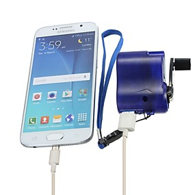 cheap Travel & Luggage Accessories-Travel phone hone charger Dynamo cell Hand usb hand Blue Emergency dynamo USB Mobile crank (Size: Android, Color: Blue)