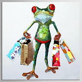 preiswerte Pop Art Ölgemälde-Hang-Ölgemälde Handgemalte - Pop - Art Klassisch Modern Fügen Innenrahmen / Gestreckte Leinwand