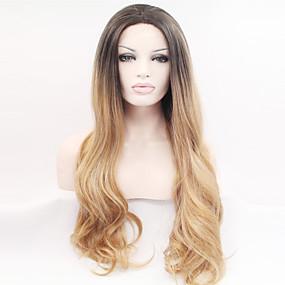 preiswerte OUO®-Synthetische Lace Front Perücken Natürlich gewellt Natürlich gewellt Spitzenfront Perücke Blond Lang Sehr lang Goldenblond Synthetische Haare Damen Gefärbte Haarspitzen (Ombré Hair) Dunkler