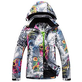 preiswerte Sport & Outdoor-Damen Skijacke warm halten Wasserdicht Windundurchlässig Skifahren Winter Sport Polyester Winterjacken Skikleidung / Blumen Pflanzen