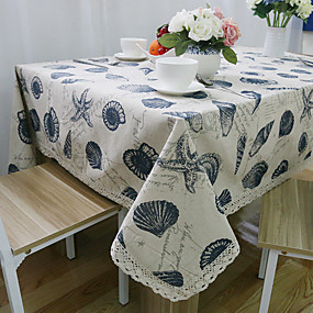cheap Table Linens-Rectangular Patterned Table Cloth , Linen / Cotton Blend Material Hotel Dining Table Wedding Party Decoration Wedding Banquet Dinner