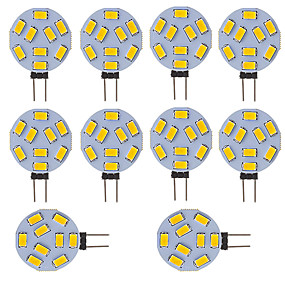 cheap LED Bi-pin Lights-10 pcs G4 LED Round Range Lamp Bulb 15 LEDs 5730 SMD 12V - 24V DC  AC White Warm Cold White