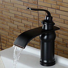 cheap BATHROOM-Bathroom Sink Faucet - Waterfall Oil-rubbed Bronze Widespread Single Handle One HoleBath Taps / Brass