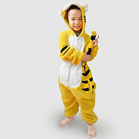 preiswerte Kostüme für Kinder-Kinder Kigurumi-Pyjamas Tiger Tier Pyjamas-Einteiler Flanell Vlies Gelb Cosplay Für Jungen und Mädchen Tiernachtwäsche Karikatur Fest / Feiertage Kostüme