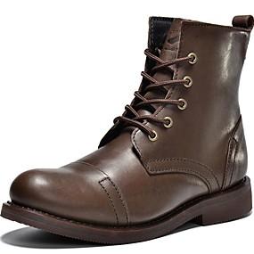 levne Větší obuv-Pánské Komfortní boty Nappa Leather Jaro / Léto / Podzim Boty Černá / Tmavěhnědá / Party / Zima / Party / Venkovní / Kancelář a kariéra