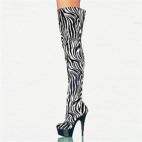 preiswerte Kniehohe Damenstiefel-Damen Stiefel Over-the-Knie Stiefel Stöckelabsatz / Plattform Runde Zehe Reißverschluss maßgeschneiderte Werkstoffe Übers Knie Neuheit / Modische Stiefel Herbst / Winter Zebra / Party & Festivität