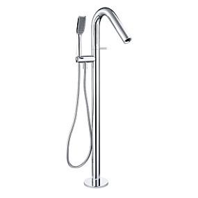 preiswerte Armaturen-Badewannenarmaturen - Moderne Chrom bodenmontiert Keramisches Ventil Bath Shower Mixer Taps / Einzigen Handgriff Zwei Löcher