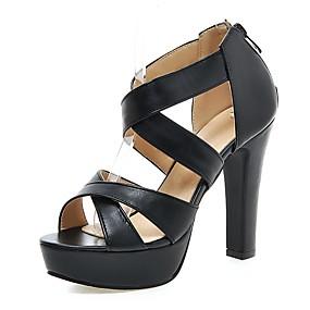 levne Větší obuv-Dámské Sandály Kroužkové sandály Kačenka / Platforma Otevřený palec Zip PU Pohodlné Chůze Léto Bílá / Černá / Růžová / Party / Party / EU40
