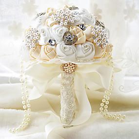economico Bouquet sposa-Bouquet sposa Bouquet Matrimonio / Party / serata Taffetà / Elastene / Con perline 28 cm ca.