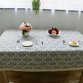 cheap Table Linens-Square Floral Table Cloth , Linen Material Hotel Dining Table Wedding Banquet Dinner Table Decoration Dinner Decor Home Decoration
