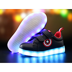 preiswerte Schuhe für Kinder-Jungen Komfort / Leuchtende LED-Schuhe PU Sneakers Kleine Kinder (4-7 Jahre) / Große Kinder (ab 7 Jahren) LED Schwarz / Weiß Frühling Sommer / TR / EU36