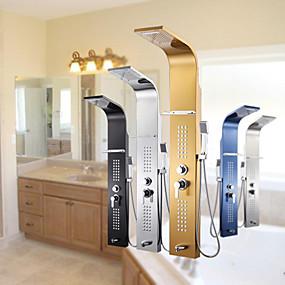 preiswerte Armaturen-Duscharmatur - Modernes Chrom-Duschpanel Keramikventil / Edelstahl / Einhebelmischer 2-Loch-Duschmischbatterien
