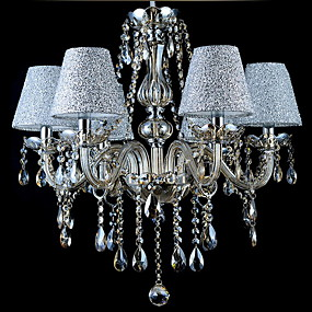 """cheap Lantern Design-6-Light 70(27.5"""") Crystal Chandelier Glass Fabric Candle-style Electroplated Modern Contemporary 110-120V / 220-240V"""