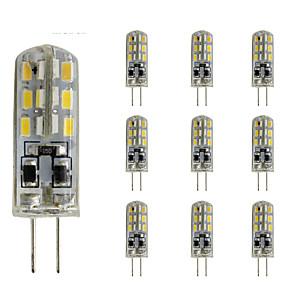 cheap LED Bi-pin Lights-10 pcs 1.5W Slim G4 LED Crystal Bulb Bi-pin 24 SMD 3014 DC 12V  Green Blue Red Light