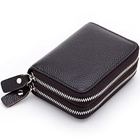 preiswerte MELOVO®-Damen Rindsleder Bankkarten & Ausweis Tasche Solide Blau / Bronze / Hellbraun