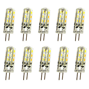 cheap LED Bi-pin Lights-10pcs 1 W LED Bi-pin Lights 120 lm G4 T 24LED LED Beads SMD 3014 Decorative Warm White Cold White 12 V / 10 pcs / RoHS