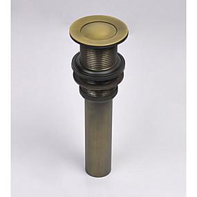 preiswerte Waschbeckenablussteile-Wasserhahn Zubehör - Gehobene Qualität - Retro Messing Pop-up-Wasserablauf ohne Überlauf - Fertig - Antikes Messing