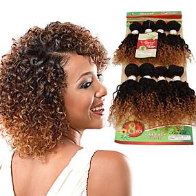 preiswerte Eunice hair®-Ombre Locken Echthaar 8 Zoll Haar-Verlängerung Blond Rotbraun 1 Stück Damen