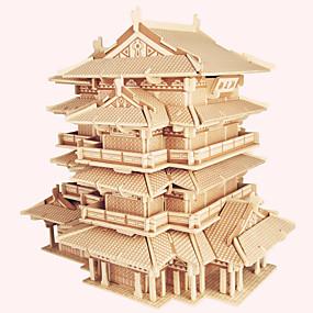 preiswerte 3D-Puzzles-Holzpuzzle Holzmodelle Berühmte Gebäude Chinesische Architektur Haus Profi Level Hölzern 1 pcs Kinder Erwachsene Jungen Mädchen Spielzeuge Geschenk
