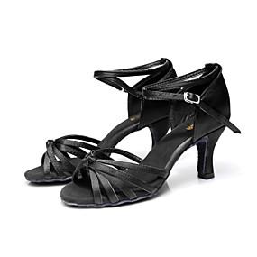 preiswerte SUN LISA®-Damen Tanzschuhe Satin Schuhe für den lateinamerikanischen Tanz / Salsa Tanzschuhe Schnalle Sandalen Maßgefertigter Absatz Maßfertigung Braun / Gold / Königsblau / Innen / Leistung / Leder / Praxis