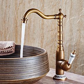 preiswerte Badarmaturen-Waschbecken Wasserhahn - Standard Antikes Kupfer Mittellage Einhand Ein LochBath Taps