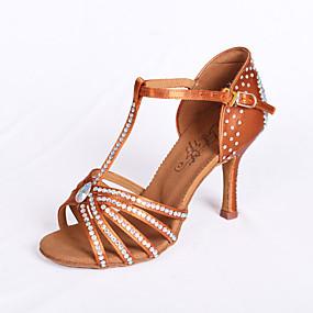 cheap 11-11 Sale-Women's Dance Shoes Satin Latin Shoes / Ballroom Shoes / Salsa Shoes Rhinestone Sandal Flared Heel Non Customizable Brown / EU39