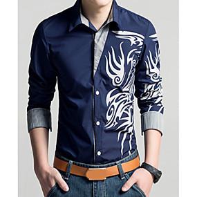 cheap Athleisure Wear-Men's Shirt Geometric Tribal Plus Size Print Long Sleeve Daily Slim Tops Vintage Classic Collar White Purple Yellow / Fall / Spring