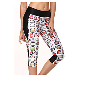 cheap Women's Activewear-Women's Running Pants Cotton Sports Leggings Bottoms Yoga Running Exercise & Fitness Breathable Classic Printing / High Elasticity