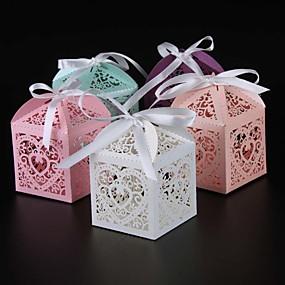 preiswerte Big Heard Love®-Kreisförmig / Quadratisch / Quader Perlenpapier Geschenke Halter mit Bänder / Print Geschenkboxen