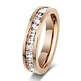 cheap Anniversary-Women's Band Ring spinning ring Rose Gold Rose Gold Rhinestone Steel Fashion Party Jewelry