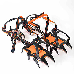 cheap Under €49-Traction Cleats Crampons Spikes Professional Adjustable Anti-skidding 12 Teeth Stainless Steel Nylon Hiking Climbing Camping Outdoor Walking Orange / Black 2 pcs