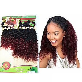 preiswerte Eunice hair®-8 Bündel Brasilianisches Haar Kinky Curly Wogende Wellen Unbehandeltes Haar Ombre 8-14 Zoll Ombre Menschliches Haar Webarten Haarverlängerungen / 10A