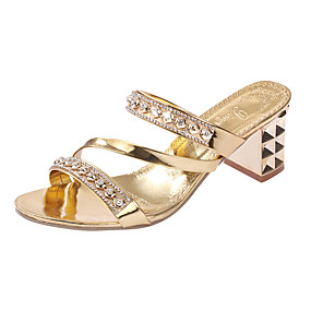 preiswerte Rotgoldene Absatzschuhe-Damen High Heels Kristall Sandalen Niedriger Heel Niete PU Komfort Frühling / Sommer Gold / Silber / EU40