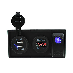 preiswerte Autoteile-dc 12v / 24v 3.1a USB-Anschluss-Buchsen und Voltmeter mit Wippschalter Prüfkabeln und Gehäusehalter