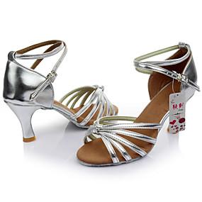 저렴한 댄스 신발-여성용 댄스 신발 새틴 / 레더렛 라틴 슈즈 버클 샌달 맞춤 힐 주문제작 가능 블랙 / 레드 / 표범 / 누드 / 실내 / 가죽 / EU40