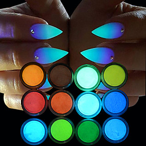 preiswerte Nagel-Funkeln-12 12 Stück Glitzerpulver leuchtend 12 Farben Schick & Modern Party Alltag Glitzer für