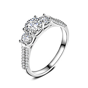 cheap Engagement-Band Ring Ring Engagement Ring Cubic Zirconia White Zircon Silver Wedding Party Jewelry