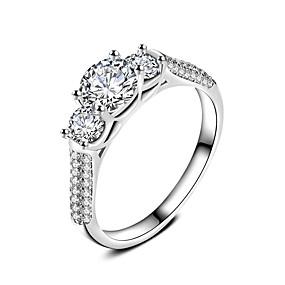 billiga Engagemang-Bandring Ring Förlovningsring Kubisk Zirkoniumoxid Vit Zircon Silver Bröllop Party Smycken