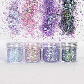 cheap Nail Glitter-nail art 10ml pink purple mixed nail glitter powder hexagon shape glitter nail powder sheets tips nail art set