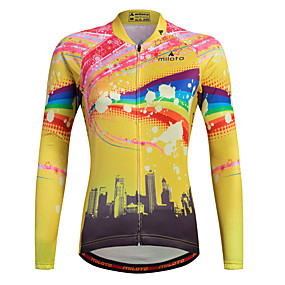 cheap Women-Miloto Women's Long Sleeve Cycling Jersey Stripes Plus Size Bike Shirt Sweatshirt Jersey Mountain Bike MTB Road Bike Cycling Breathable Quick Dry Reflective Strips Sports 100% Polyester Clothing
